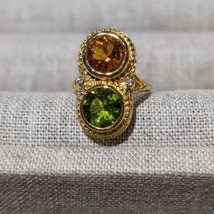Citrine Peridot and Diamond Ring
